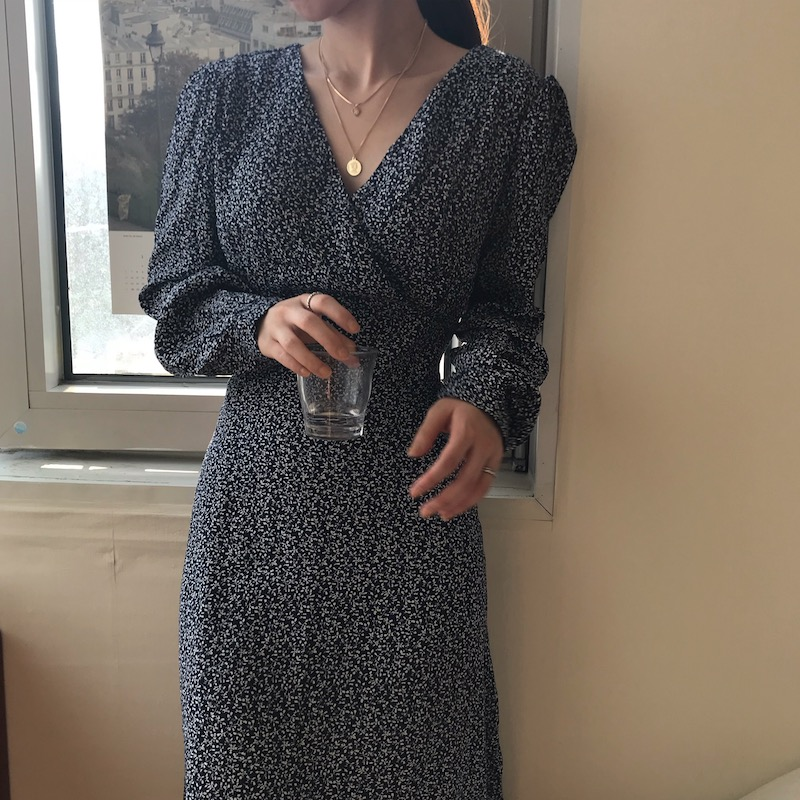 Spring dress in navy